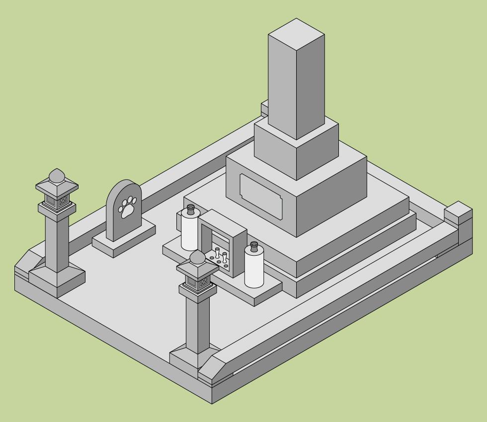 ペットの墓の建て方 人の墓と同じ区画内に建てる